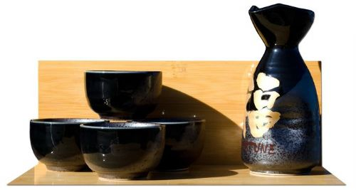 Sake set Japanese metallic black & gold Fortune calligraphy 4 cups